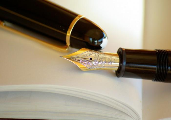 Afbeelding van een vulpen op een boek gevonden op coachingmetsanne.com